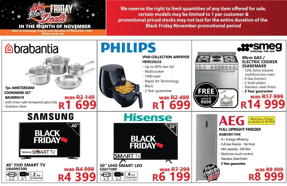 Tafelberg Furnishers catalogue  - 11.21.2020 - 11.30.2020 - Sales products - aeg, cookware set, freezer, fridge, samsung, smart tv, philips, oven, kettle, safe, hisense, control, refrigerator, stainless steel, black friday, led, smeg. Page 1.