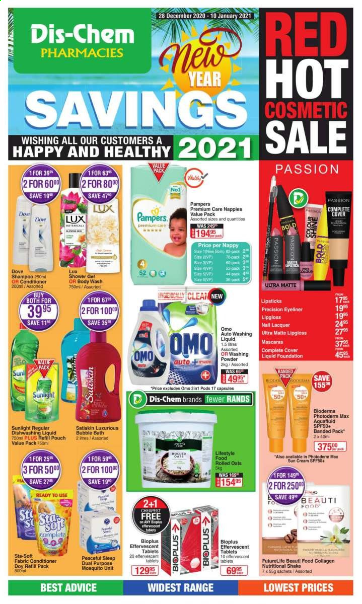 Dis-Chem catalogue  - 12.28.2020 - 01.10.2021 - Sales products - shakes, oats, rolled oats, ron, Pampers, nappies, diapers, Dove, fabric conditioner, Omo, Sunlight, Bold, dishwashing liquid, Lux, body wash, bubble bath, shampoo, shower gel, Satiskin, conditioner, lipstick, eyeliner, refill. Page 1.