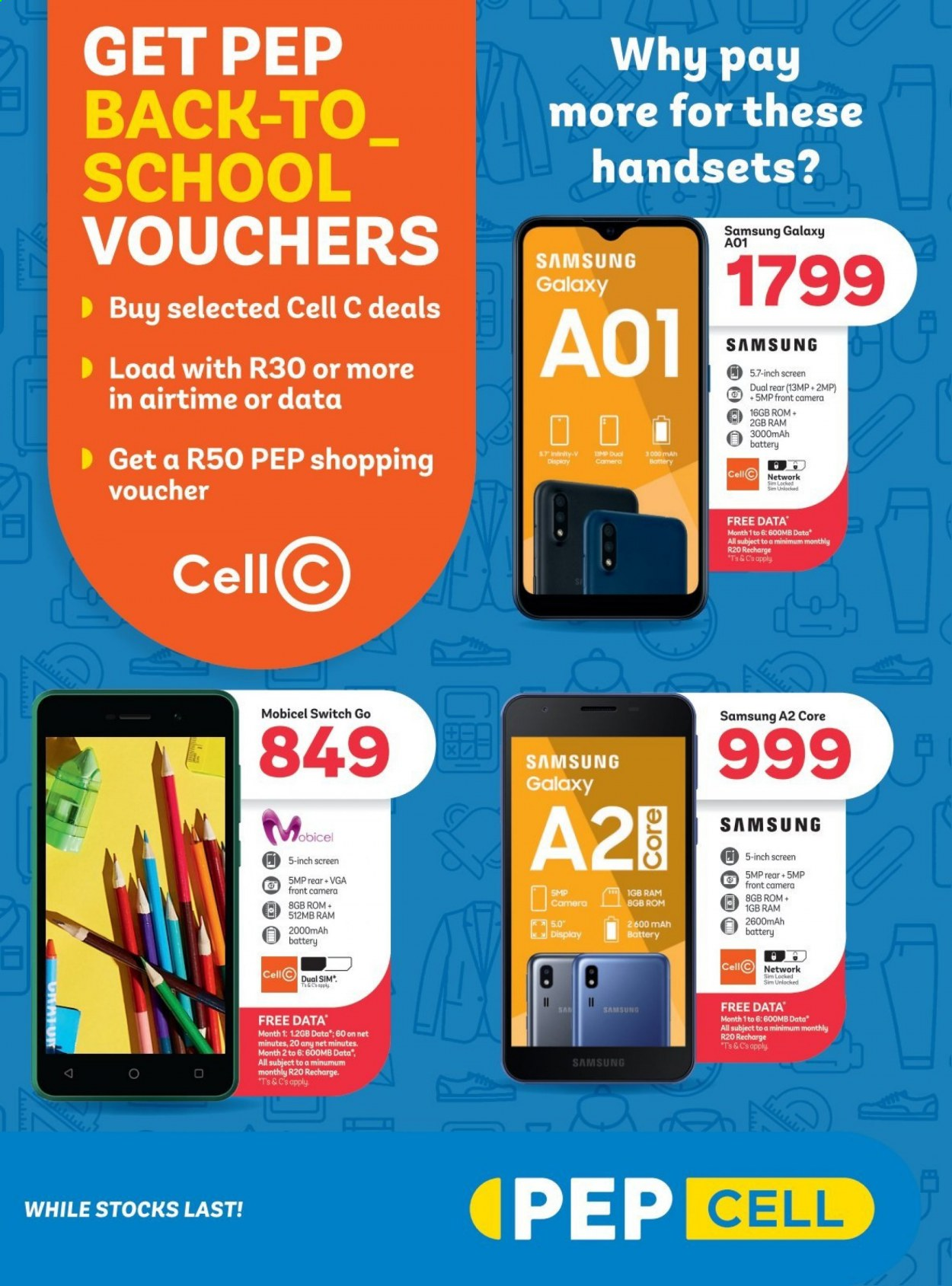 PEP CELL catalogue  - 01.01.2021 - 01.28.2021 - Sales products - Samsung Galaxy, Samsung, Mobicel. Page 1.