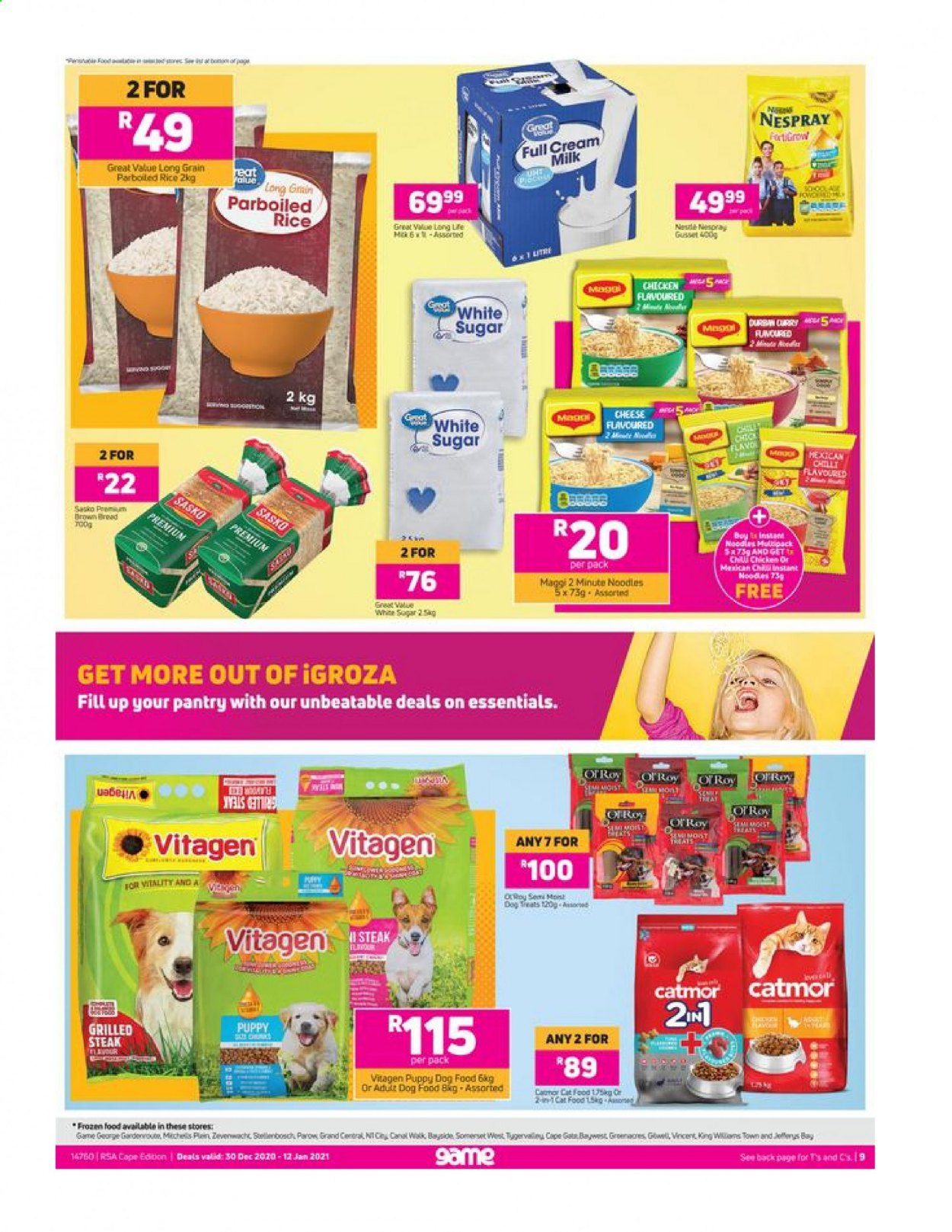 Game catalogue  - 12.30.2020 - 01.12.2021 - Sales products - animal food, bread, cat food, dog food, milk, rice, sugar, chicken, steak, instant noodles, cheese, Maggi, curry, parboiled rice, essentials. Page 1.