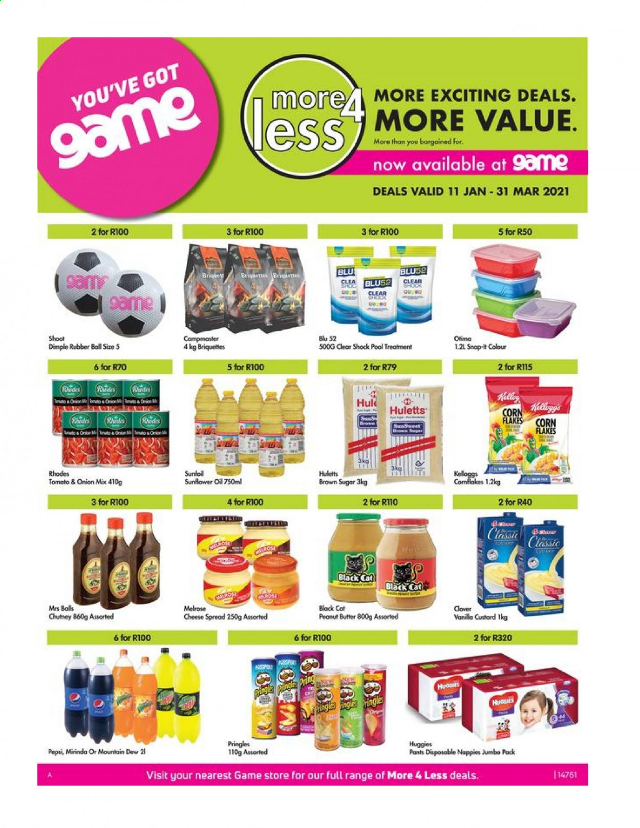 Game catalogue  - 01.11.2021 - 03.31.2021 - Sales products - corn, custard, corn flakes, Mountain Dew, diapers, ball, brown sugar, sugar, sunflower oil, Huggies, Pringles, cheese spread, pants, peanut butter, Pepsi, pool, briquettes, cheese, flakes, sunflower, nappies, onion, rubber. Page 1.