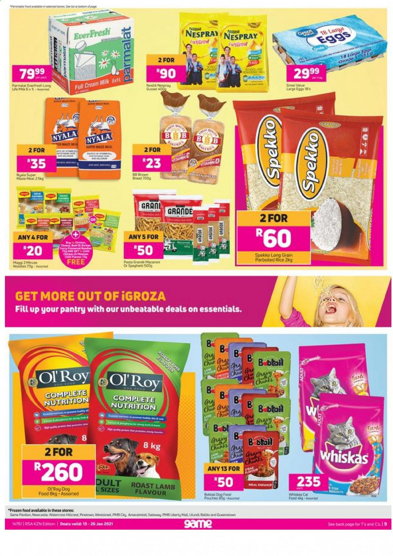 Game catalogue  - 01.13.2021 - 01.26.2021 - Sales products - lamb meat, bread, eggs, rice, pasta, animal food, cat food, dog food, Whiskas, essentials. Page 1.