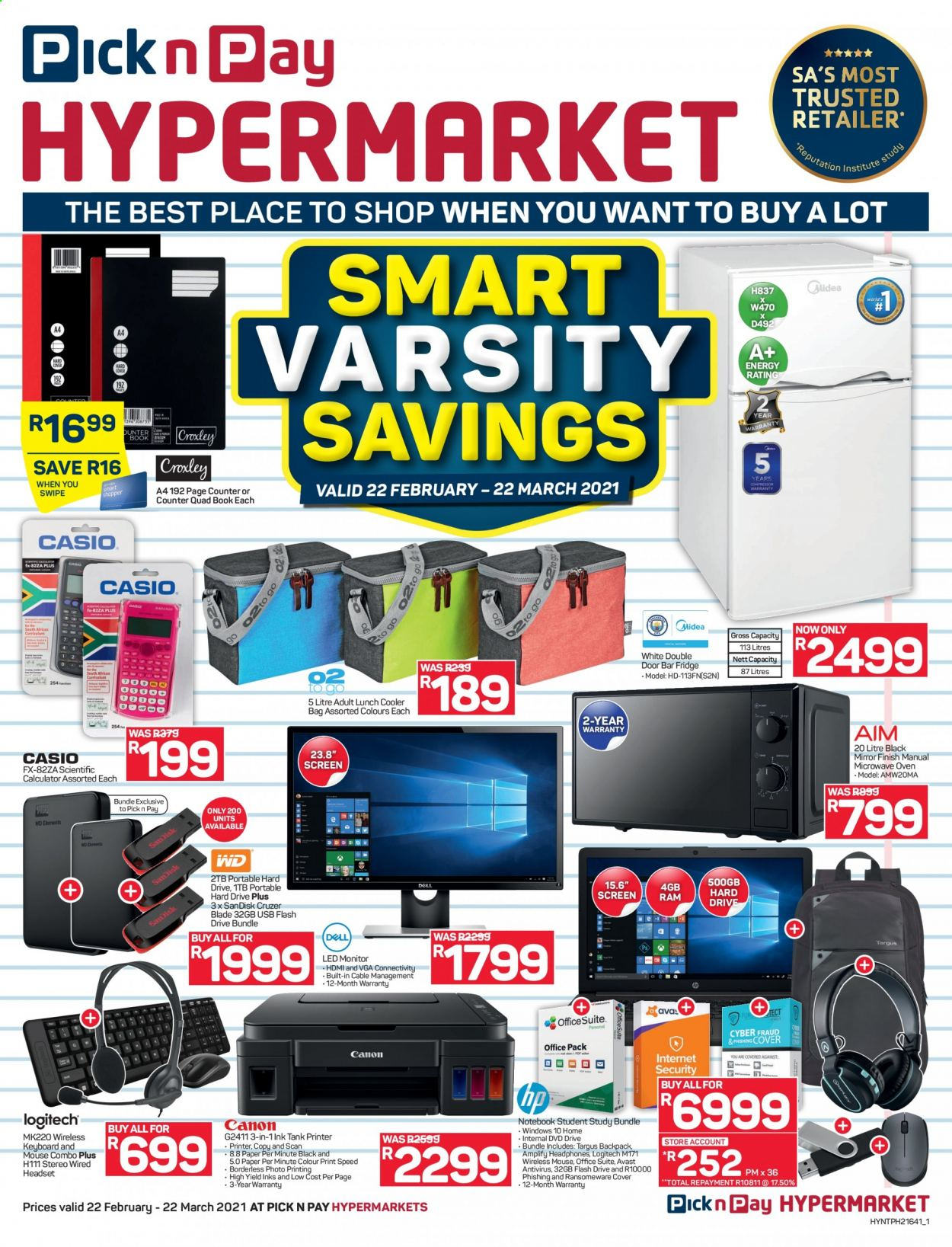 Pick n Pay catalogue  - 02.22.2021 - 03.22.2021 - Sales products - anti-virus, Sandisk, cooler bag, notebook, calculator, paper, dvd, book, keyboard, hard disk, flash drive, Logitech, mouse, portable hard drive, monitor, headset, headphones, bar fridge, refrigerator, fridge, oven, microwave oven, printer, backpack, bag, windows, door, cable, cruzer, led. Page 1.