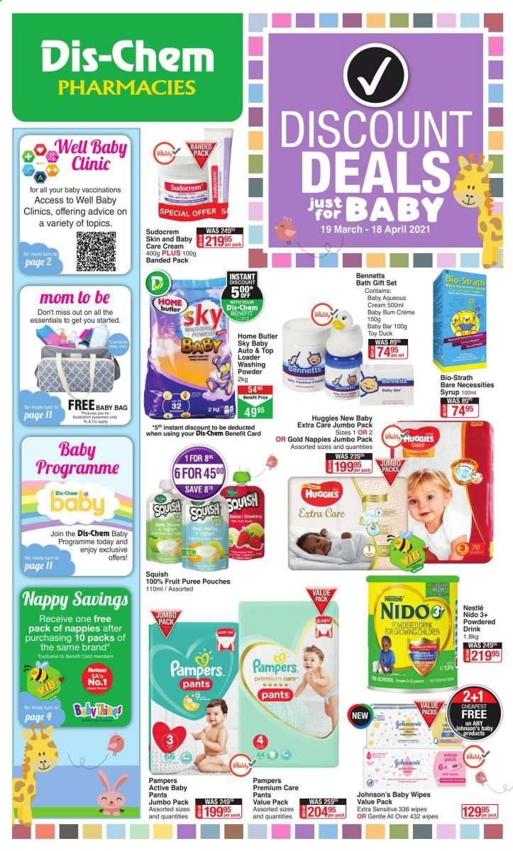 Dis-Chem catalogue  - 03.19.2021 - 04.18.2021 - Sales products - Nestlé, syrup, baby food pouch, Huggies, Pampers, baby wipes, nappies, diapers, Johnson's, baby pants, wipes, laundry powder, gift set, bag, toys, Bio-Strath, Sudocrem, essentials. Page 1.