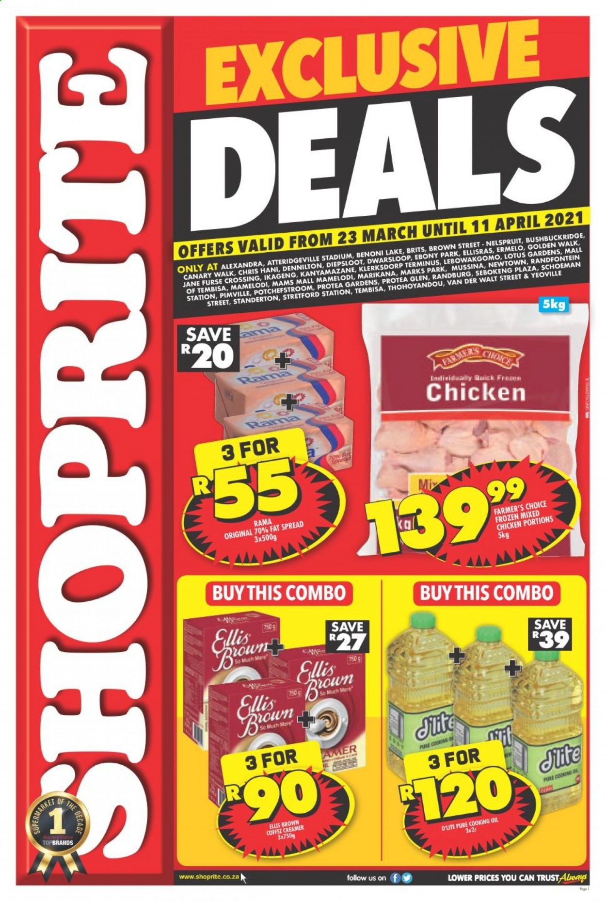 Shoprite catalogue  - 03.23.2021 - 04.11.2021 - Sales products - Ellis Brown, fat spread, Rama, creamer, coffee and tea creamer, oil, chicken, Lotus, Trust. Page 1.