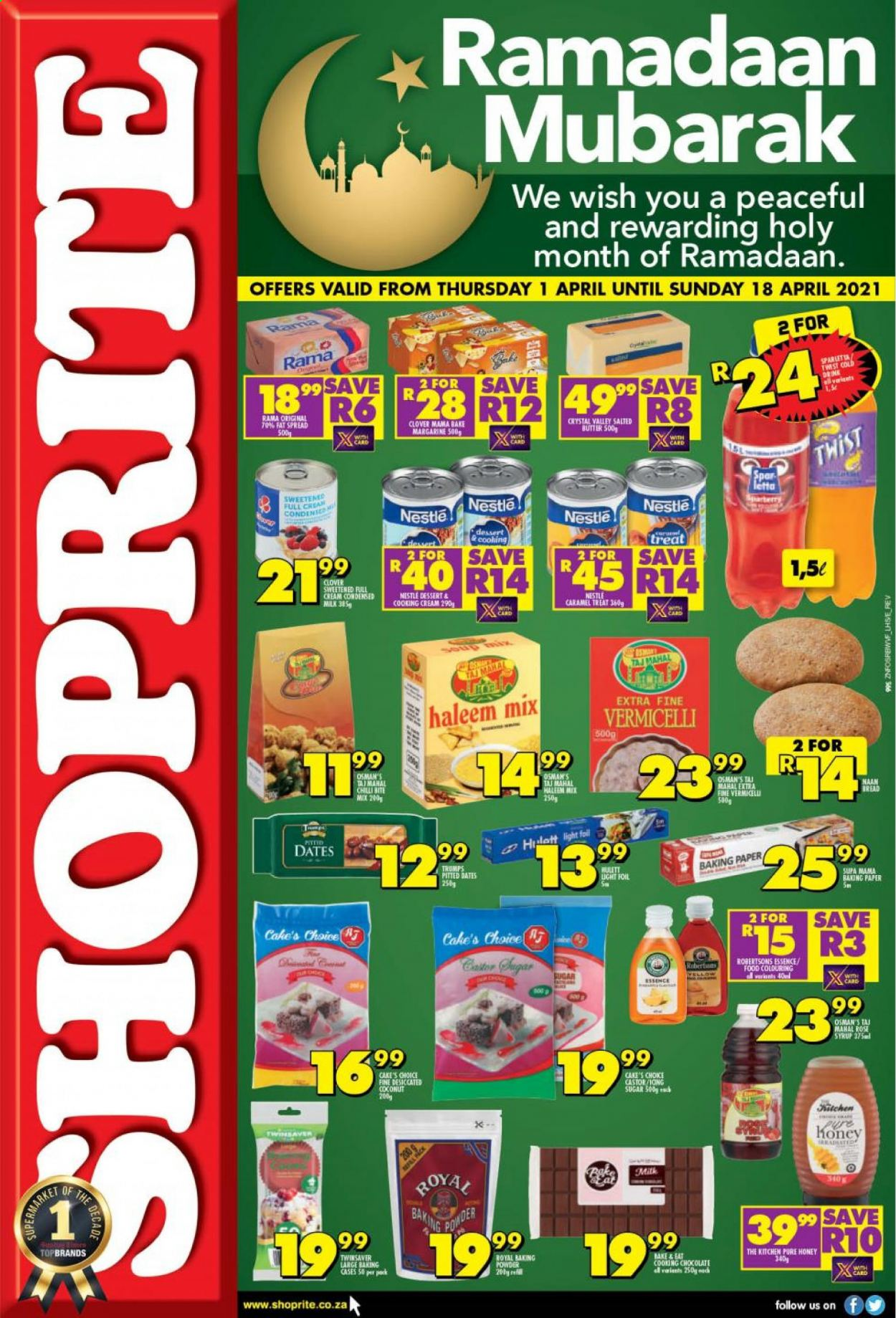 Shoprite catalogue  - 04.01.2021 - 04.18.2021 - Sales products - cake, coconut, Clover, milk, margarine, fat spread, Rama, Nestlé, baking powder, sugar, caramel, honey, syrup, fard dates, Spar letta, baking paper. Page 1.