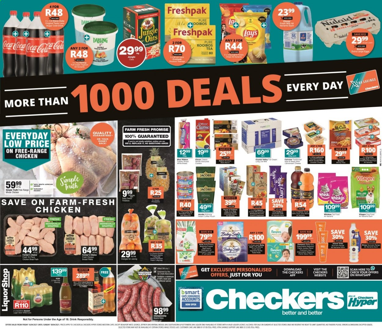 Checkers catalogue  - 04.16.2021 - 04.18.2021 - Sales products - bread, white bread, pears, orange, gouda, yoghurt, Clover, large eggs, Blue Ribbon, Dairy Milk, chips, Lay's, oats, jungle oats, Coca-Cola, tea, tea bags, rooibos tea, instant coffee, Jacobs, alcohol, KWV, liquor, beer, whole chicken, chicken breasts, chicken meat, Pampers, nappies, Nivea, Ariel, XTRA, animal food, cat food, dog food, Whiskas, Bakers, pants. Page 1.