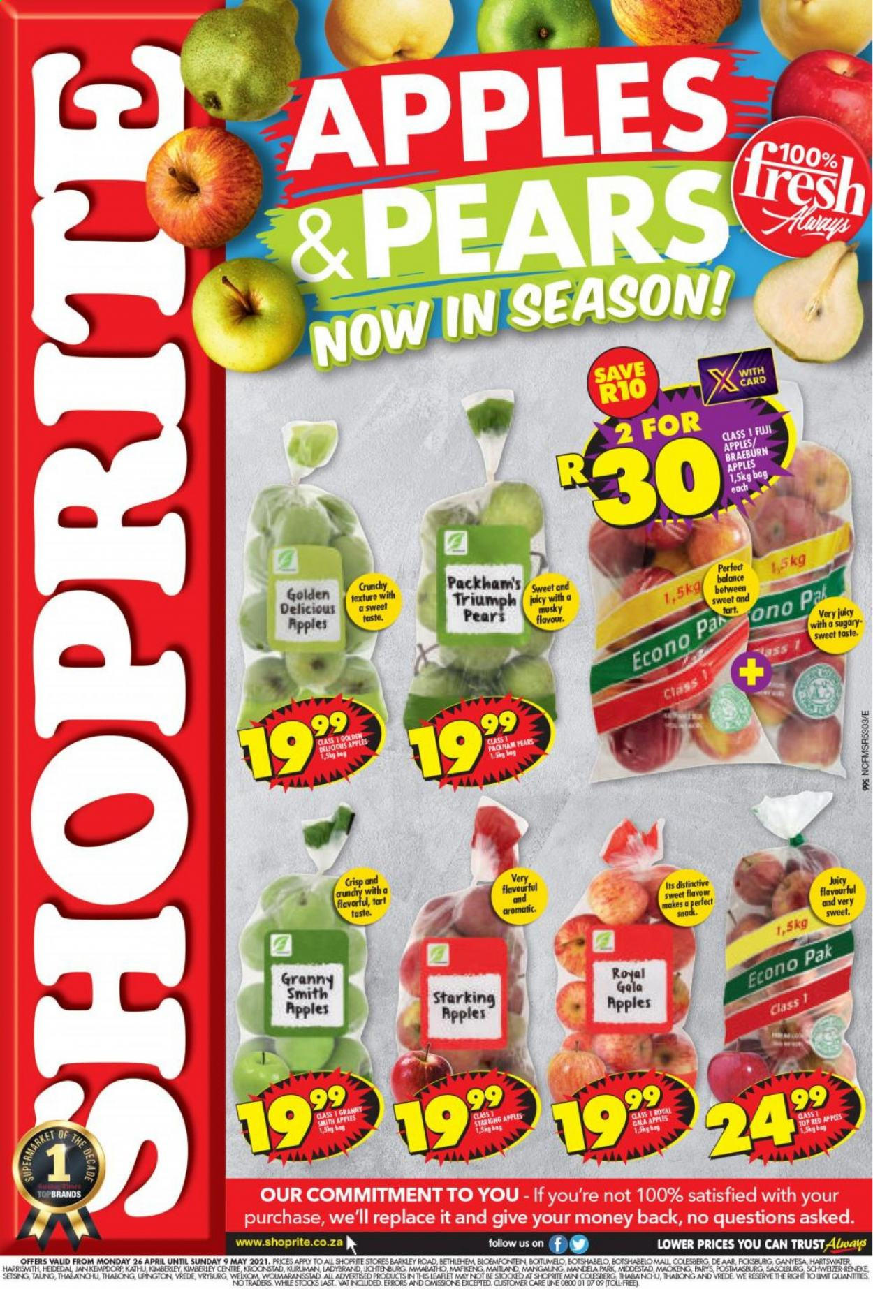 Shoprite catalogue  - 04.26.2021 - 05.09.2021 - Sales products - tart, Gala apple, pears, Golden Delicious apple, Fuji apple, apples, Granny Smith apple, snack, bag. Page 1.