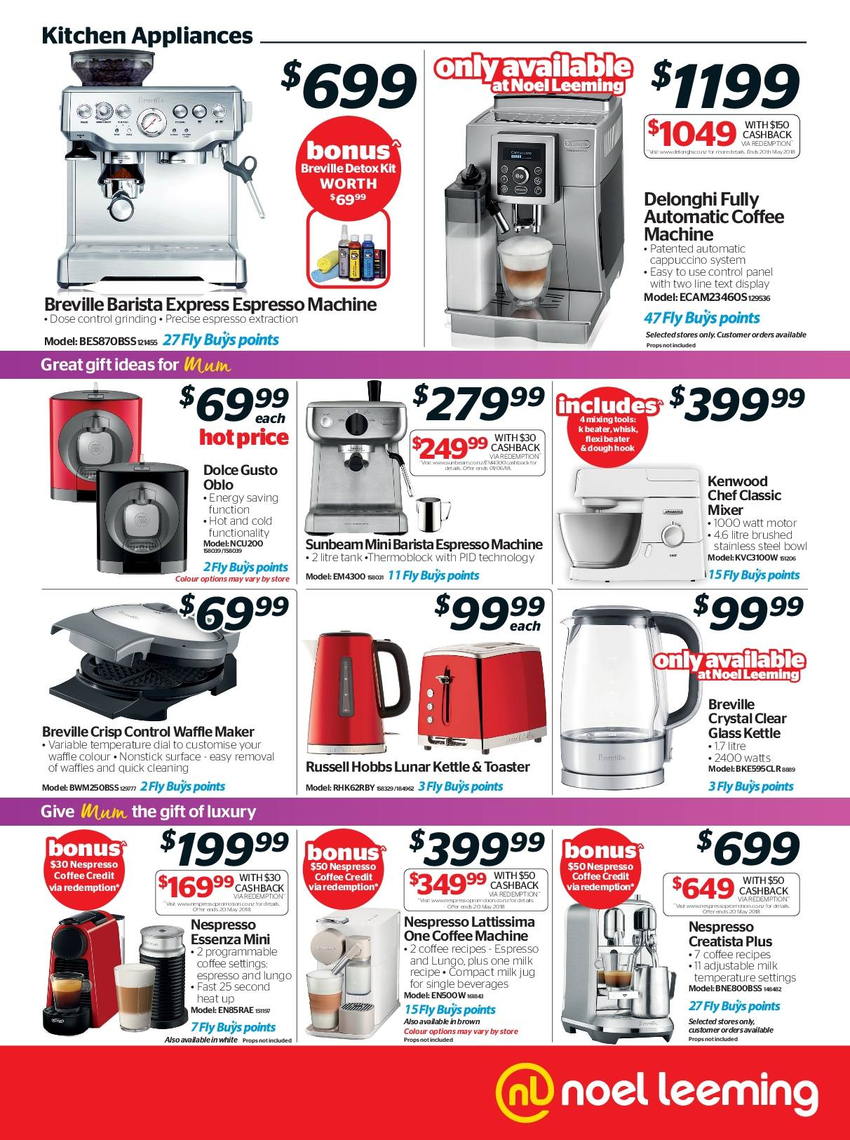 Noel Leeming mailer - 02.05.2018 - 15.05.2018 - Sales products - cappuccino, coffee, delonghi, glass, milk, hook, kitchen, bow, toaster, waffle maker, coffee machine, nespresso, russell hobbs, kettle. Page 3.