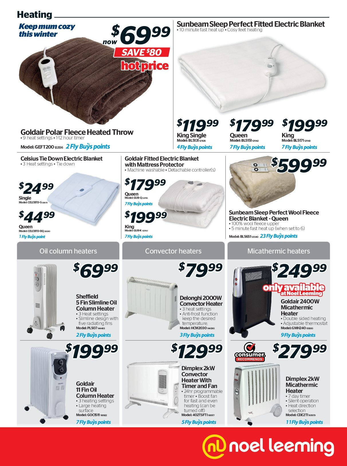 Noel Leeming mailer - 02.05.2018 - 15.05.2018 - Sales products - blanket, controller, delonghi, mattress, throw, tie, timer, heater, electric blanket, wool, mattress protector, oil. Page 5.