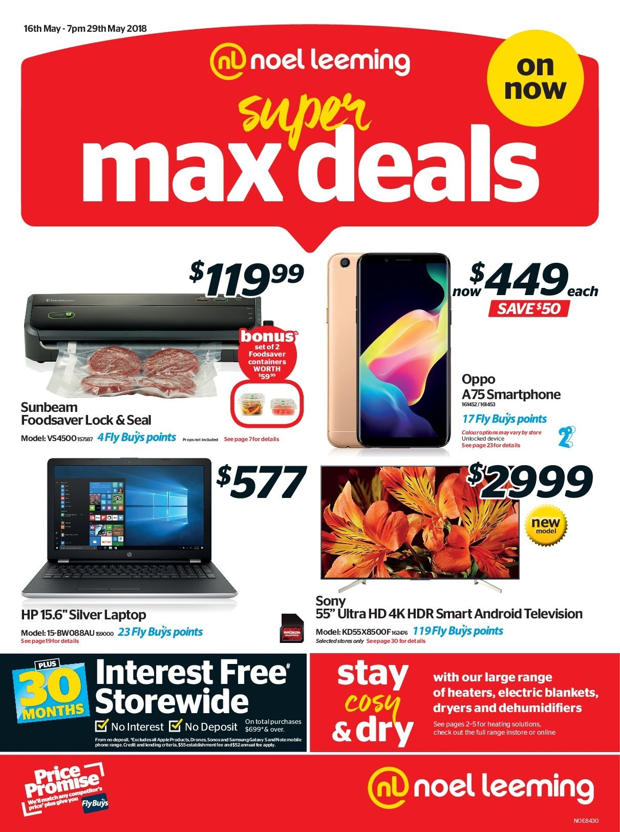 Noel Leeming mailer - 16.05.2018 - 29.05.2018 - Sales products - android, blanket, drone, laptop, sony, uhd tv, ultra hd, hp, smartphone. Page 1.