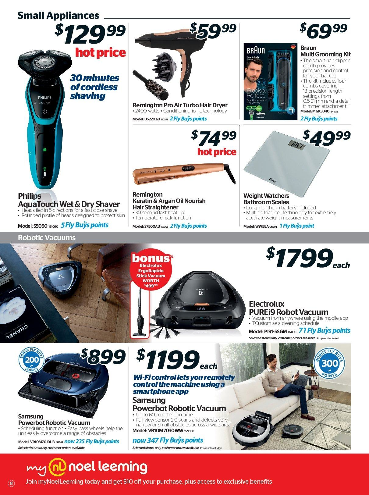 Noel Leeming mailer - 16.05.2018 - 29.05.2018 - Sales products - bathroom, battery, braun, dryer, electrolux, remington, robot, samsung, stick, trimmer, vacuum, keratin, philips, hair dryer, shaver, smartphone, scales, hair clipper, straightener, oil. Page 8.