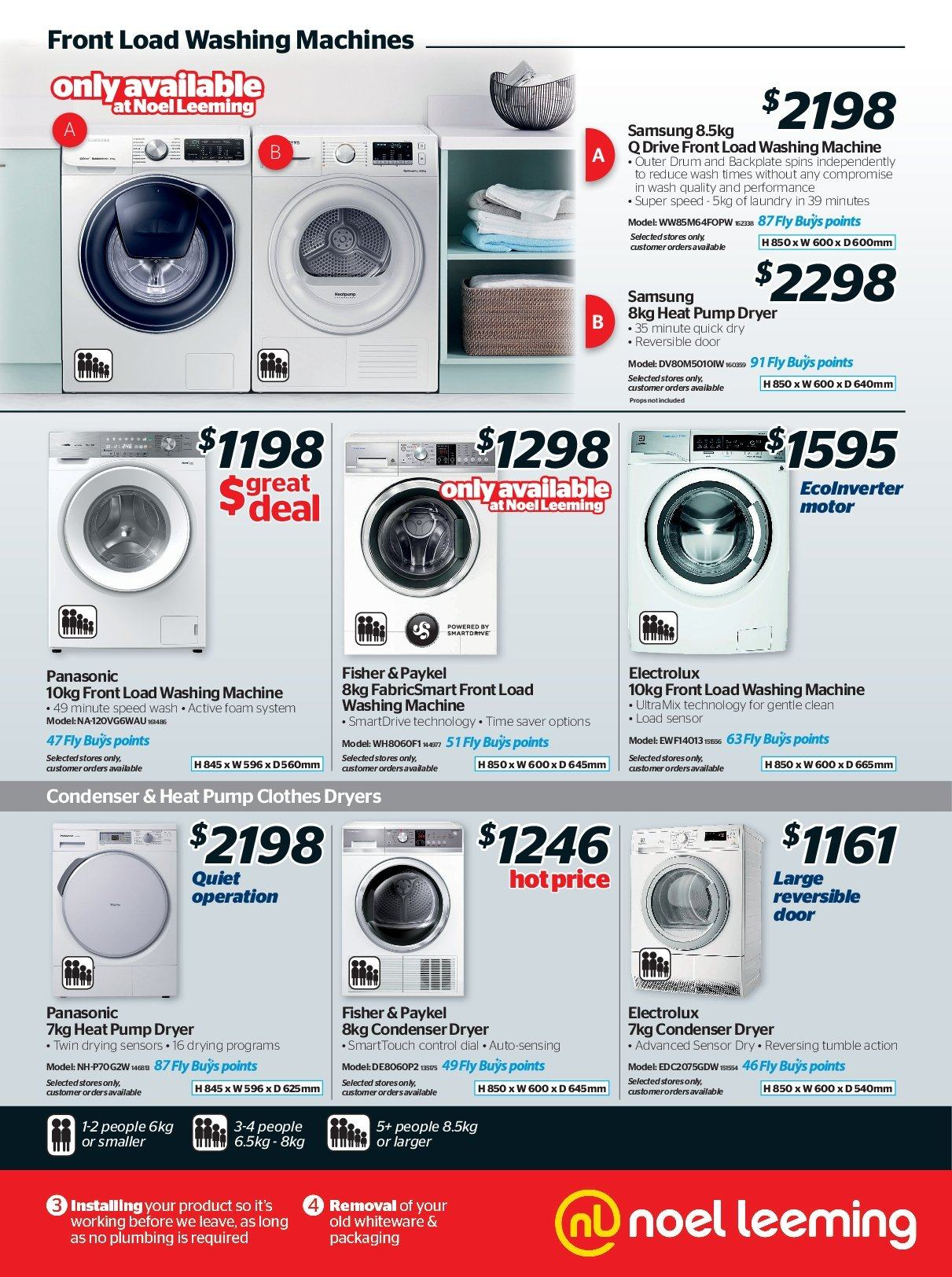 Noel Leeming mailer - 16.05.2018 - 29.05.2018 - Sales products - door, dryer, electrolux, foam, samsung, quick dry, panasonic, washing machine. Page 11.