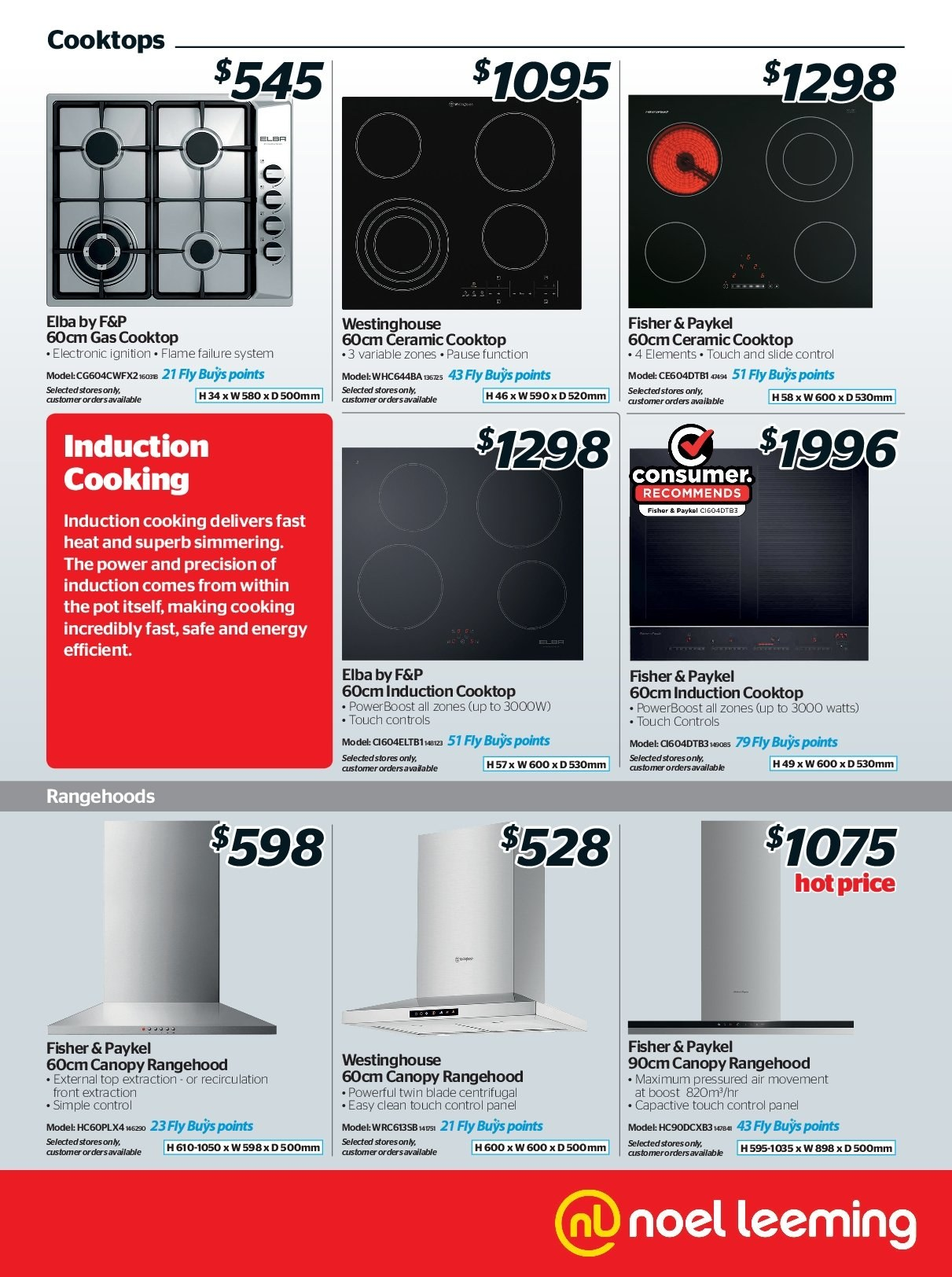 Noel Leeming mailer - 16.05.2018 - 29.05.2018 - Sales products - canopy, cooktop, induction cooktop, pot, blade. Page 13.