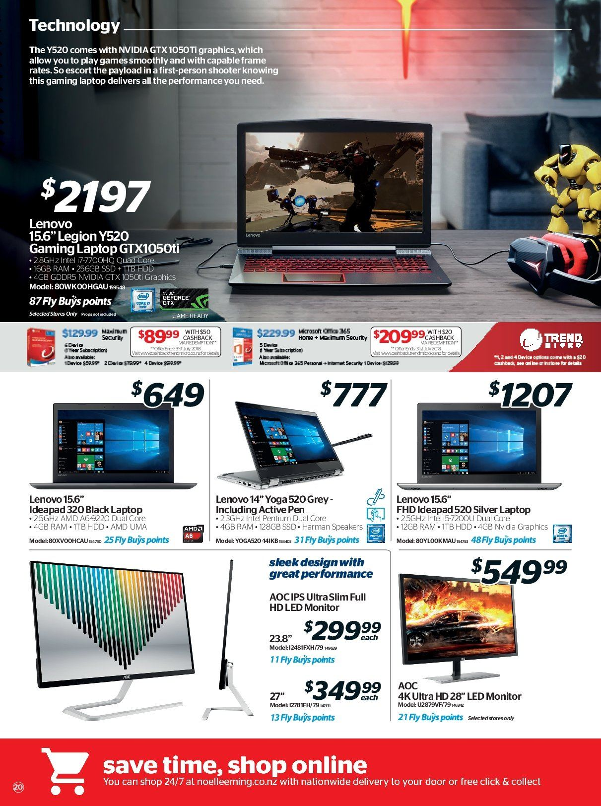 Noel Leeming mailer - 16.05.2018 - 29.05.2018 - Sales products - amd, door, frame, full hd, geforce, laptop, lenovo, monitor, speaker, uhd tv, ultra hd, hdd, intel, pentium, nvidia, pen, ssd. Page 20.