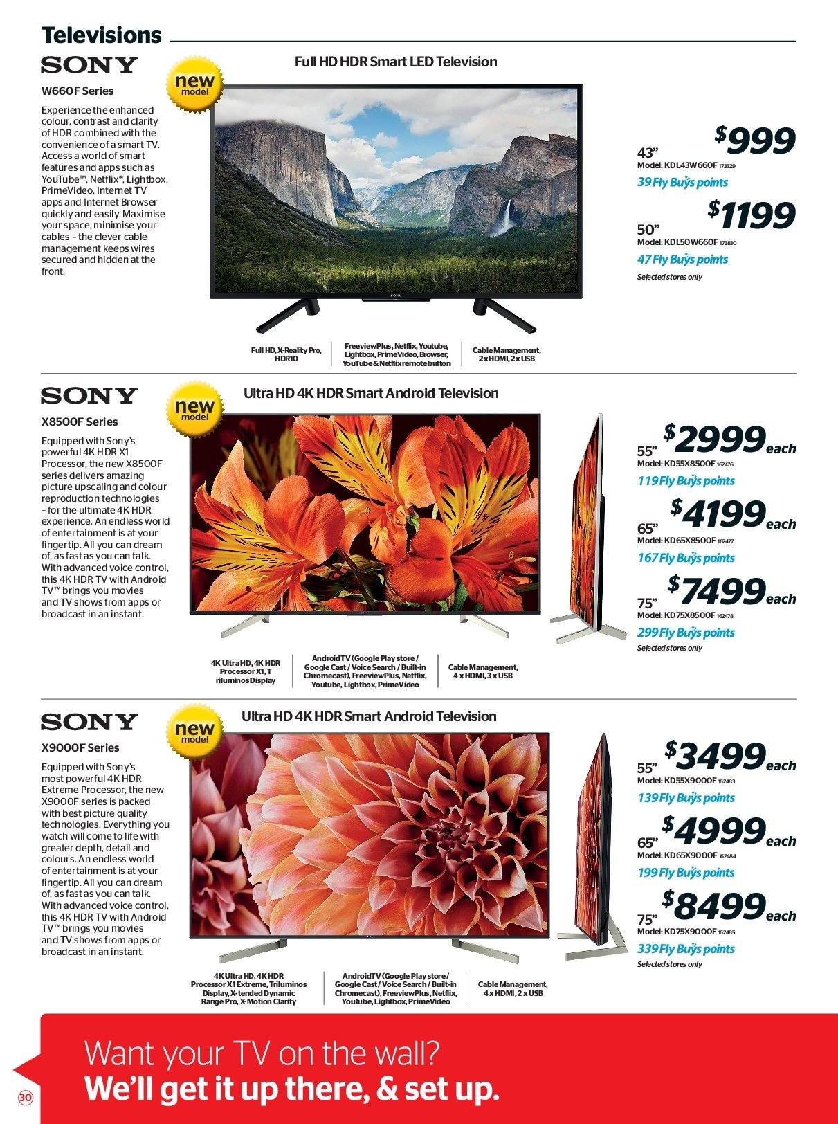 Noel Leeming mailer - 16.05.2018 - 29.05.2018 - Sales products - android, android tv, full hd, google, smart tv, sony, uhd tv, ultra hd, usb, watch, hdmi, processor. Page 30.