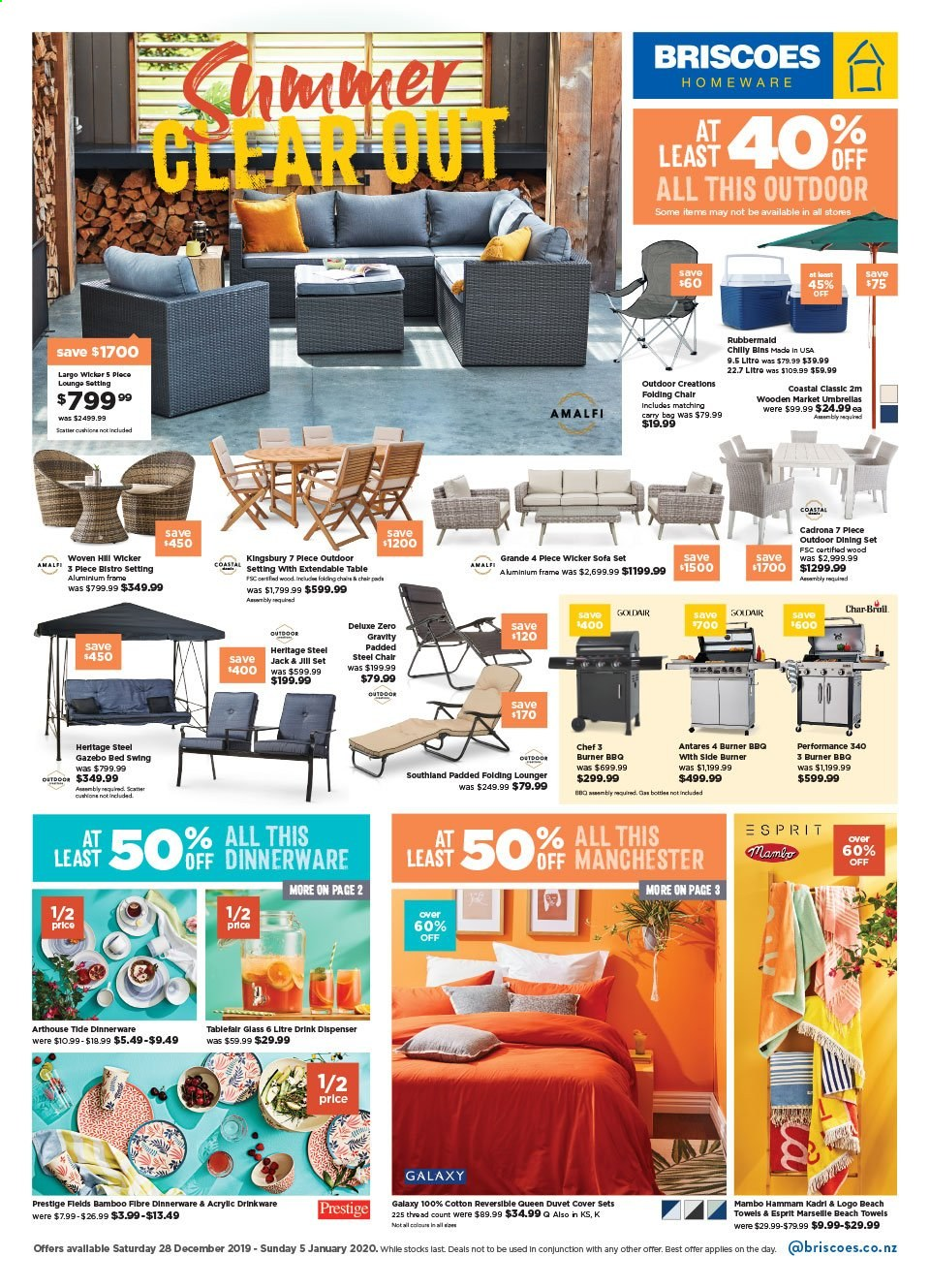 Briscoes mailer - 28.12.2019 - 05.01.2020 - Sales products - dining set, extendable table, table, sofa, bed, dinnerware set, drinkware, dispenser, duvet, gas grill, aluminium frame, apples, carry bag, Samsung Galaxy. Page 1.