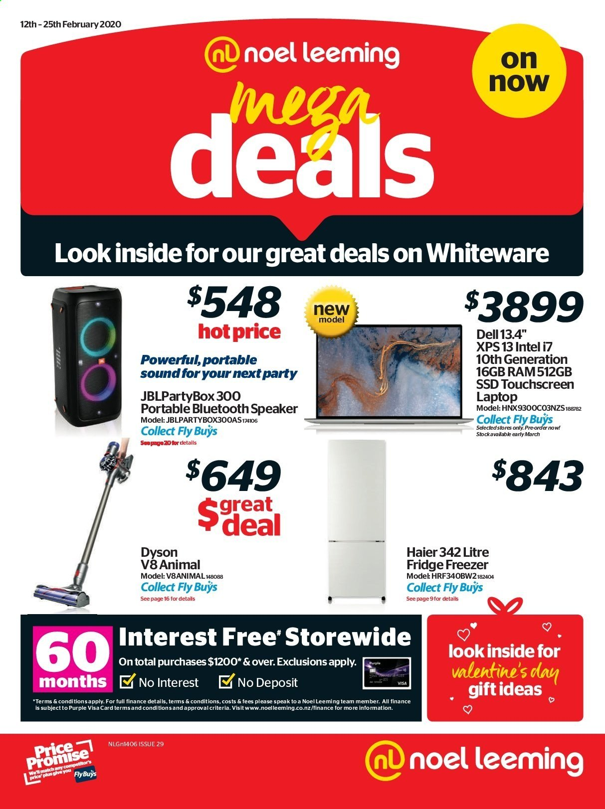 Noel Leeming mailer - 12.02.2020 - 25.02.2020 - Sales products - Dell, Haier, laptop, touchscreen laptop, Intel, speaker, bluetooth speaker, freezer, refrigerator, fridge, Dyson, car battery. Page 1.