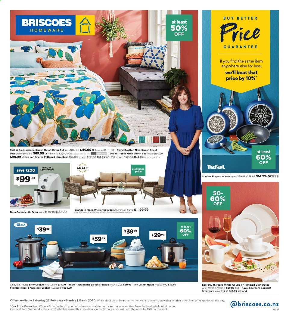 Briscoes mailer - 22.02.2020 - 01.03.2020 - Sales products - sofa, Tefal, Wok, cup, frypan, bench seat, duvet, sheet, queen sheet, quilt cover set, fryer, slow cooker, rice cooker, electric frypan, ice cream machine, aluminium frame, bouquet. Page 1.