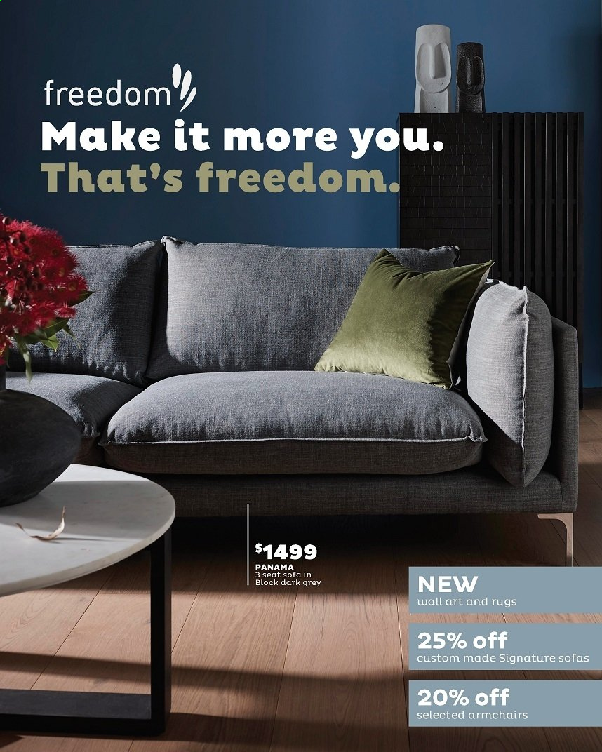 Freedom Furniture mailer - 01.03.2020 - 31.03.2020 - Sales products - arm chair, sofa, rug. Page 1.