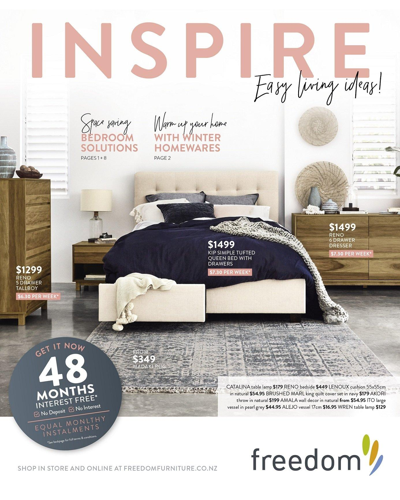 Freedom Furniture mailer - 03.07.2018 - 12.08.2018 - Sales products - queen bed, bed, dresser, cushion, lamp, table lamp. Page 1.