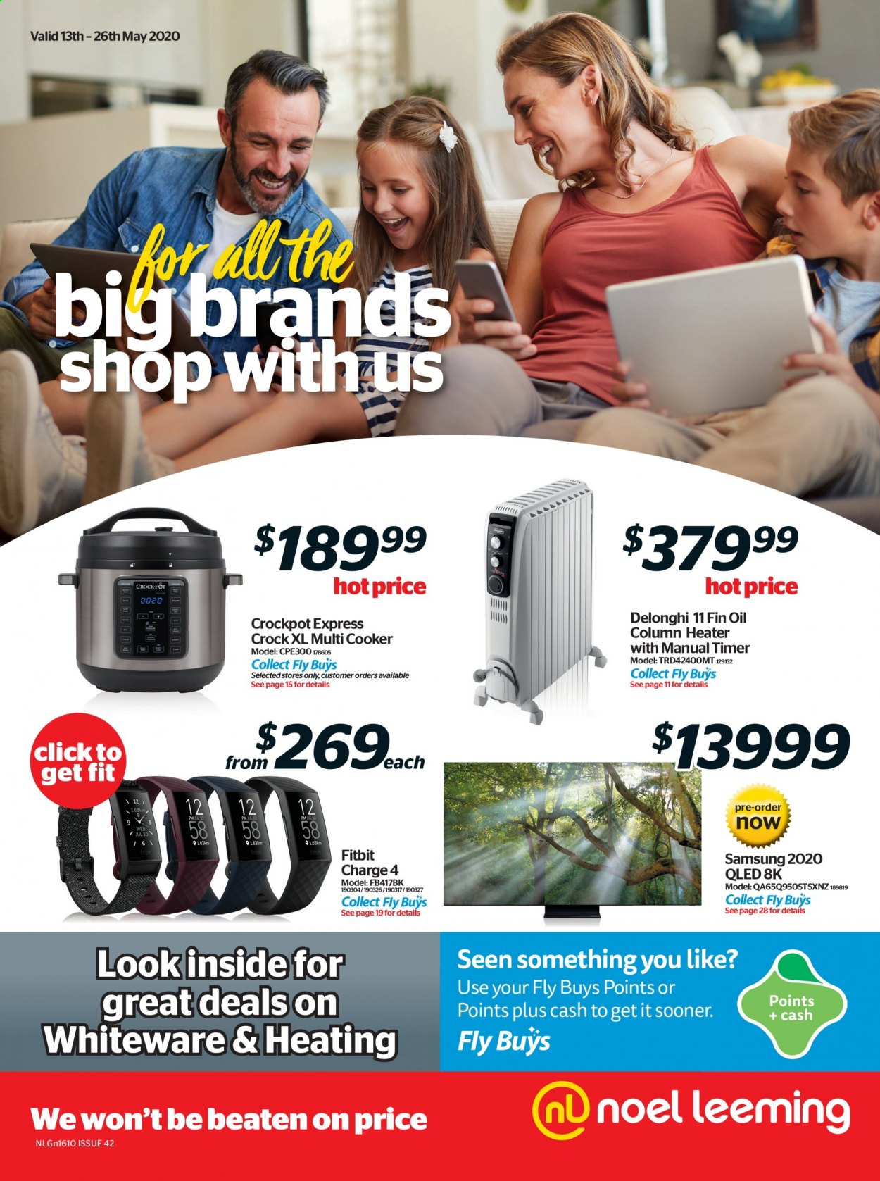 Noel Leeming mailer - 13.05.2020 - 26.05.2020 - Sales products - Samsung, Fitbit, De'Longhi, multi cooker, CrockPot. Page 1.