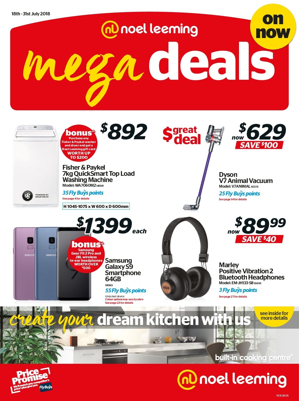 Noel Leeming mailer - 18.07.2018 - 31.07.2018 - Sales products - Samsung Galaxy, Samsung, Samsung Galaxy S, smart phone, Samsung Galaxy S9, JBL, headphones, washing machine, Dyson, vacuum cleaner. Page 1.