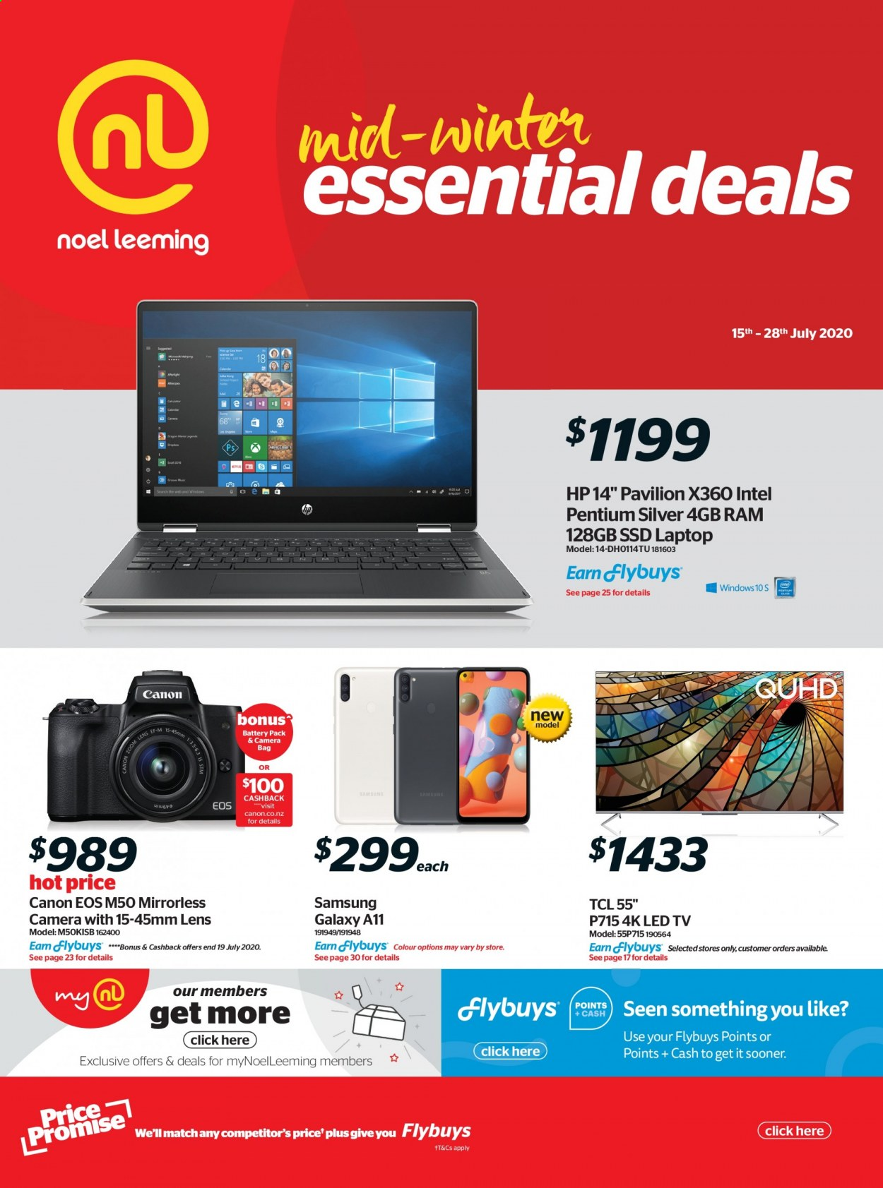 Noel Leeming mailer - 15.07.2020 - 28.07.2020 - Sales products - bag, battery, camera, canon, galaxy, laptop, led tv, lens, mirrorless camera, samsung, tcl, hp, intel, pentium, ssd, pavilion, galaxy a, samsung galaxy. Page 1.
