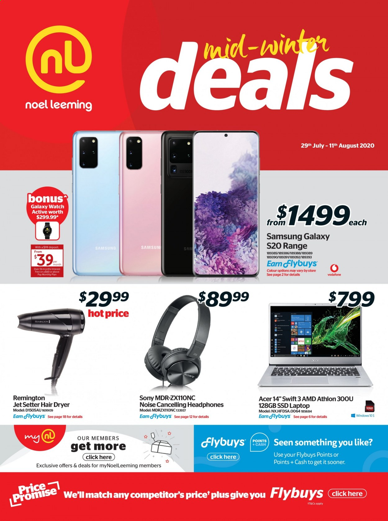 Noel Leeming mailer - 29.07.2020 - 11.08.2020 - Sales products - acer, amd, dryer, galaxy, laptop, remington, samsung, sony, watch, hair dryer, ssd, athlon, headphones, galaxy s, samsung galaxy. Page 1.