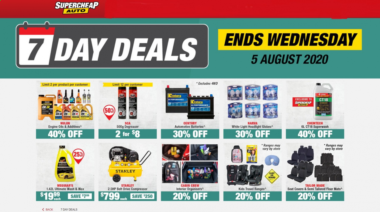 SuperCheap Auto mailer - 02.08.2020 - 05.08.2020 - Sales products - batteries, battery, belt, stanley, hp, seat covers, headlight. Page 1.