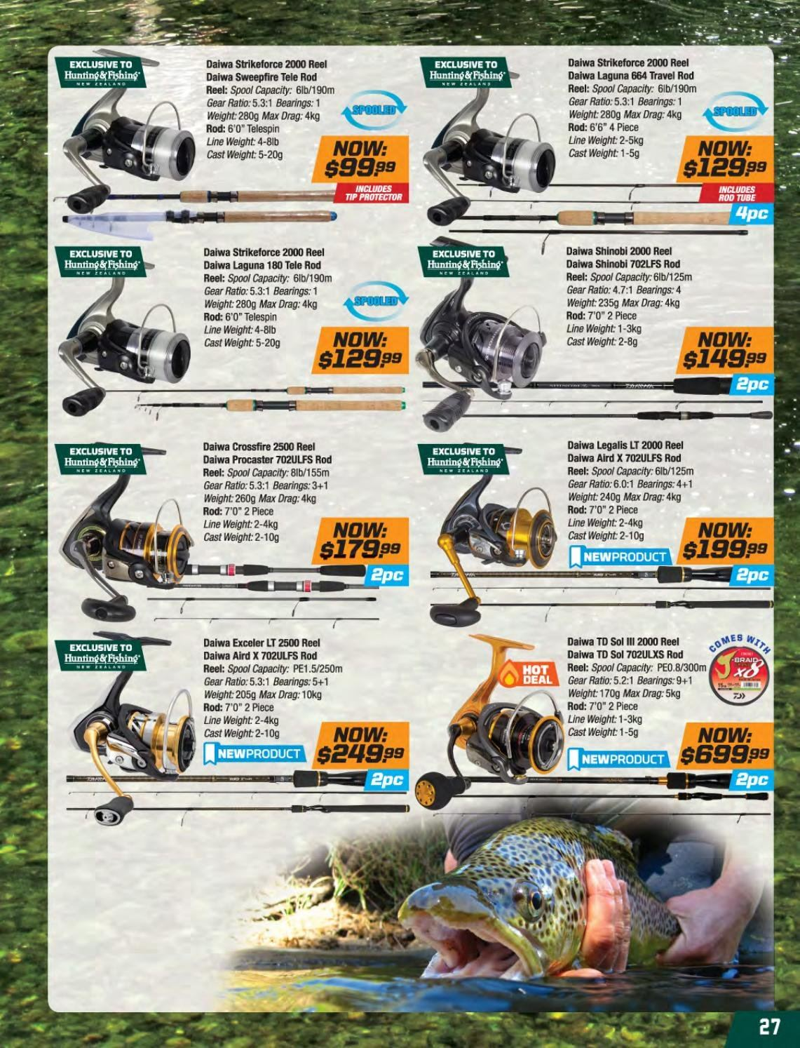 Hunting & Fishing mailer - Sales products - reel. Page 27.