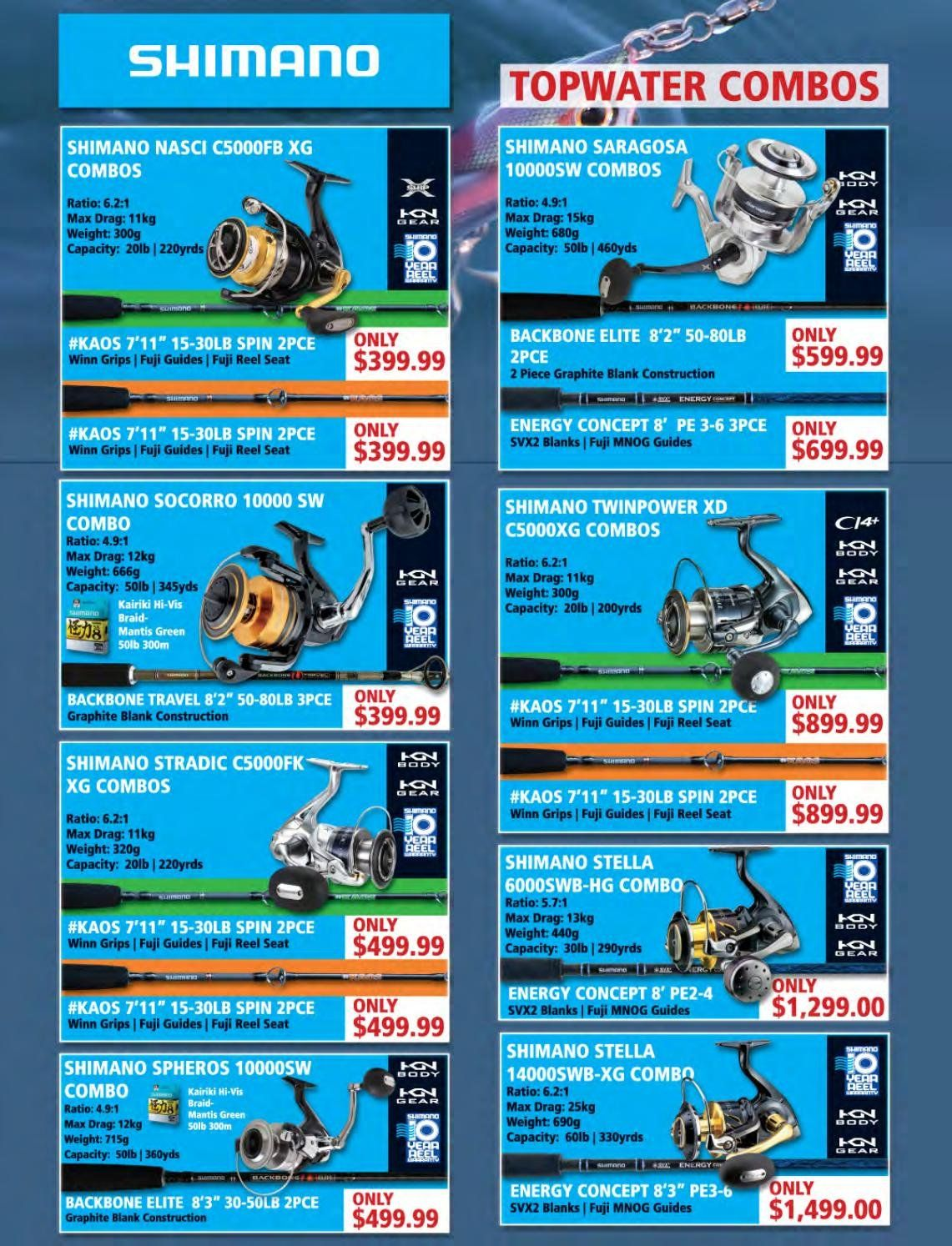 Hunting & Fishing mailer - Sales products - reel. Page 70.