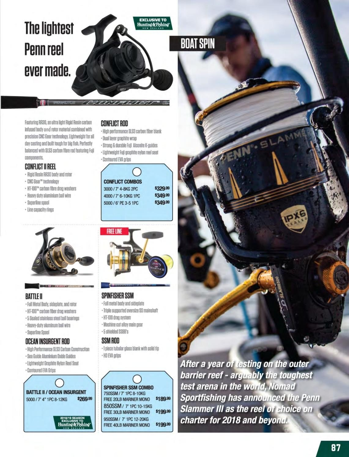 Hunting & Fishing mailer - Sales products - reel. Page 87.