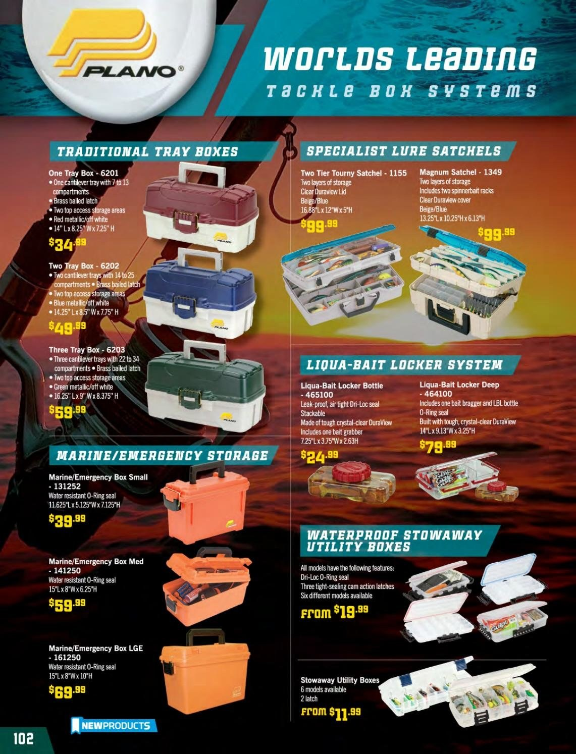 Hunting & Fishing mailer - Sales products - lid, tray. Page 102.