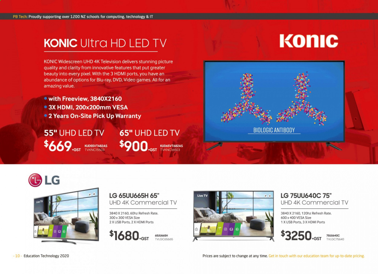 PB Tech mailer - Sales products - Blu-ray, dvd, LED TV, LG, uhd tv, ultra hd, USB, led. Page 10.