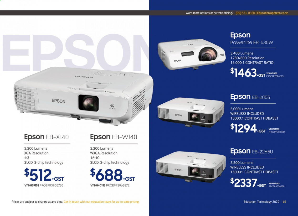 PB Tech mailer - Sales products - Epson. Page 15.