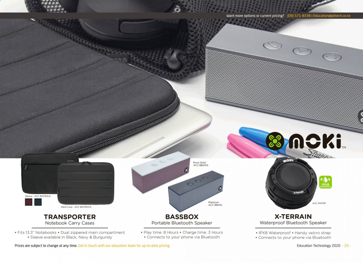 PB Tech mailer - Sales products - speaker, strap, notebook, bluetooth speaker, phone. Page 19.