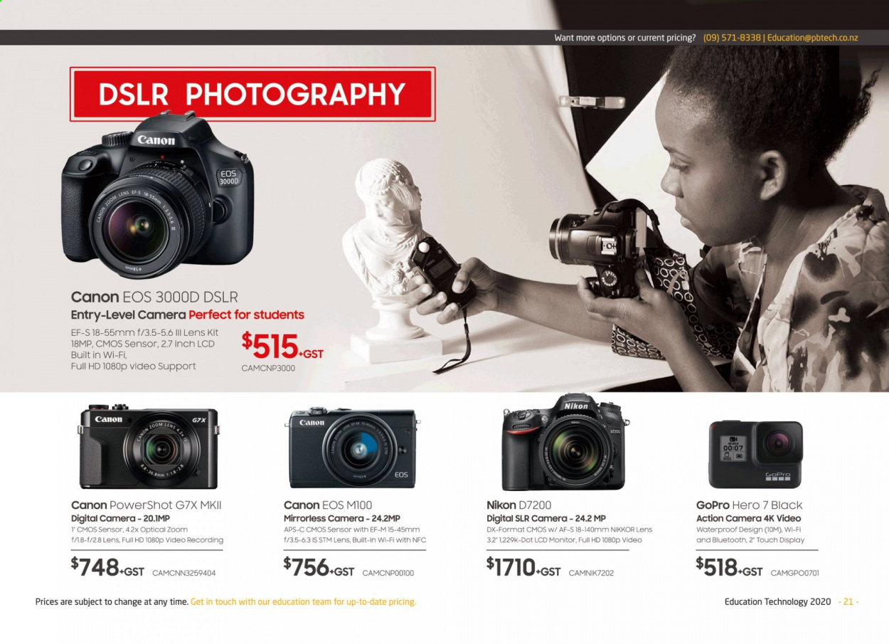 PB Tech mailer - Sales products - action camera, camera, Canon, digital camera, full hd, GoPro, lens, mirrorless camera, monitor, wifi, PowerShot, Nikon. Page 21.