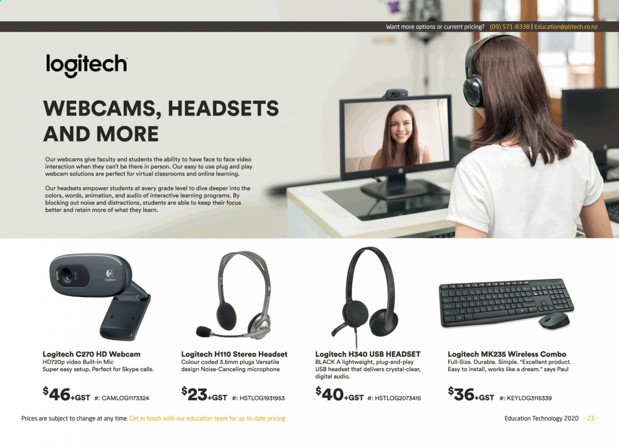 PB Tech mailer - Sales products - Logitech, microphone, USB, webcam, headset. Page 23.