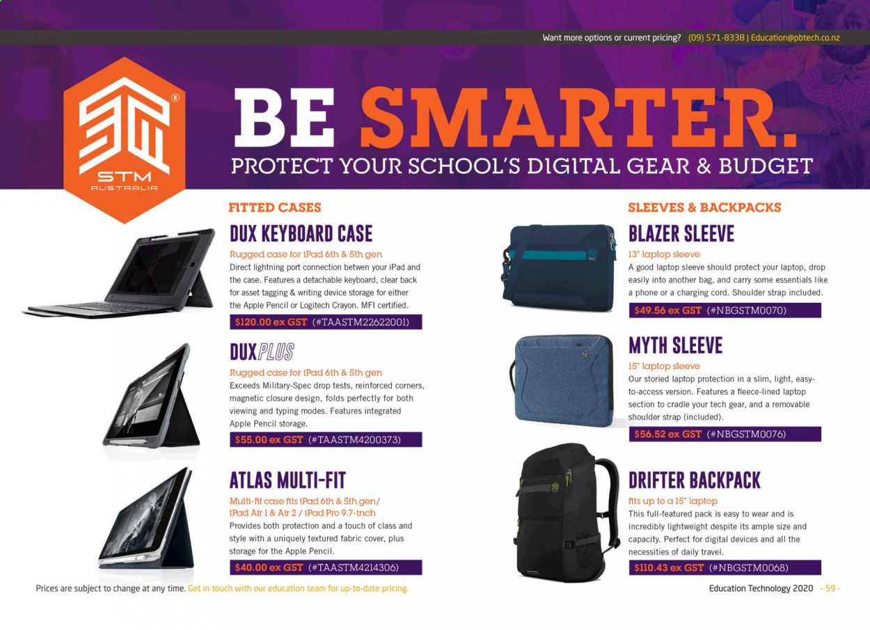 PB Tech mailer - Sales products - Apple, backpack, bag, blazer, laptop, Logitech, strap, keyboard, iPad, Gear, iPad Pro, phone, apples, essentials. Page 59.