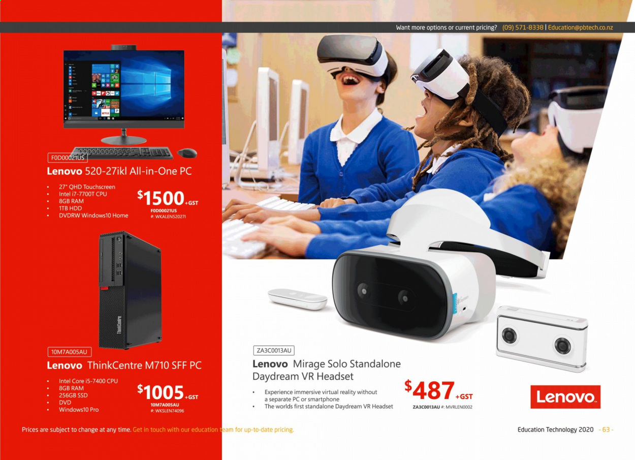 PB Tech mailer - Sales products - dvd, Lenovo, mirage, windows, Intel, headset, smartphone, all-in-one, ssd, ThinkCentre. Page 63.
