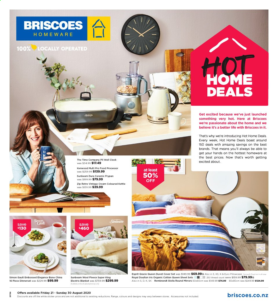 Briscoes mailer - 21.08.2020 - 30.08.2020 - Sales products - blanket, clock, cotton, cream, duvet, duvet cover, esprit, sheet, pillowcases, electric blanket, sticker, processor, dinnerset, wool, kenwood, food processor, thread, kettle, always, queen sheet. Page 1.