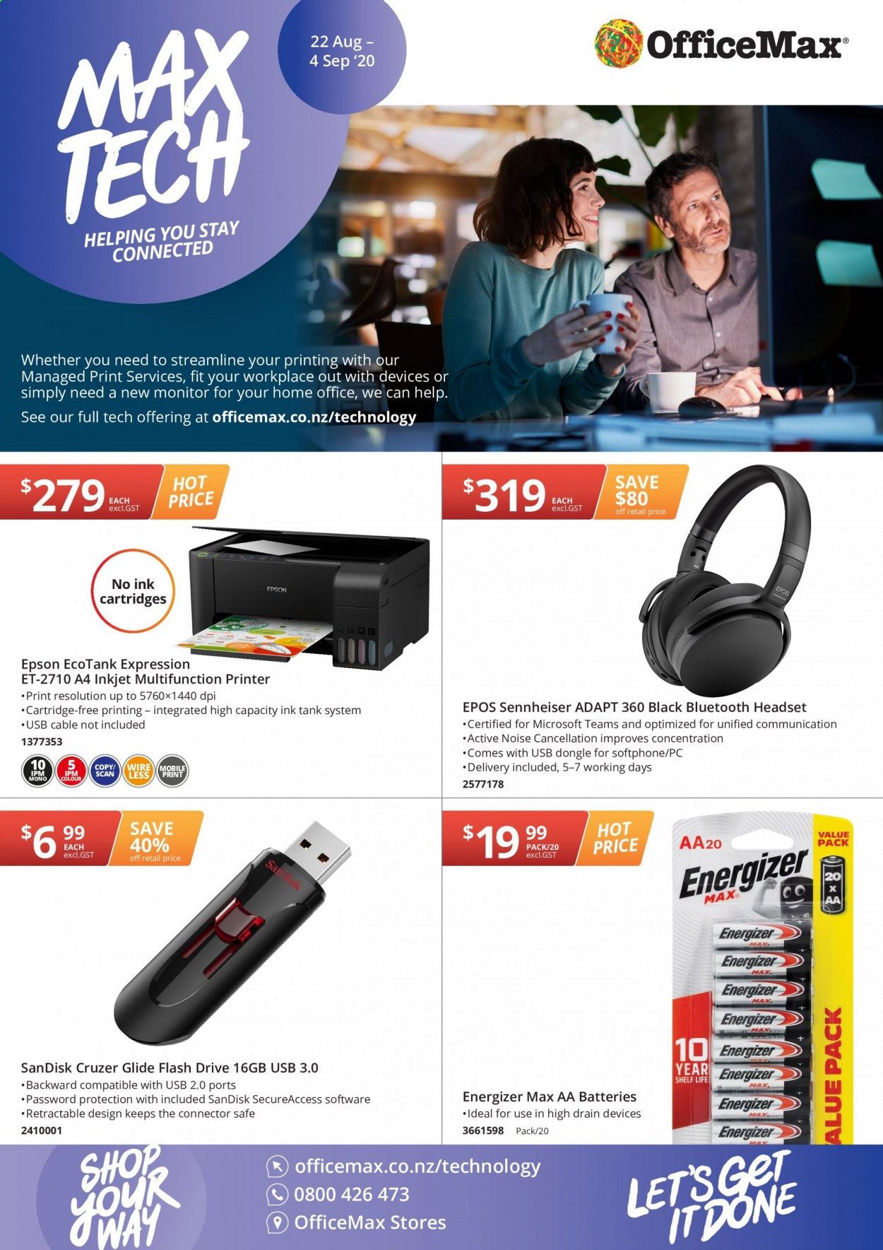 OfficeMax mailer - 22.08.2020 - 04.09.2020 - Sales products - Energizer, aa batteries, printer, Epson, cartridge, headset, Sennheiser. Page 1.