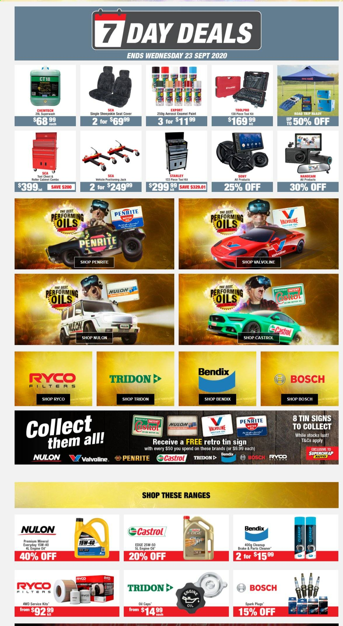 SuperCheap Auto mailer - 20.09.2020 - 23.09.2020 - Sales products - bosch, cabinet, motor oil, seat cover, sony, spark plugs, stanley, roller, cleaner, vehicle, paint, tools. Page 1.