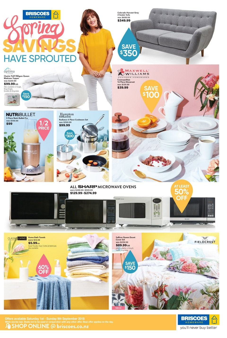 Briscoes mailer - 01.09.2018 - 09.09.2018 - Sales products - sofa, topper, mattress protector, cookware set, dinnerware set, duvet, quilt cover set, bath towel, towel, NutriBullet. Page 1.