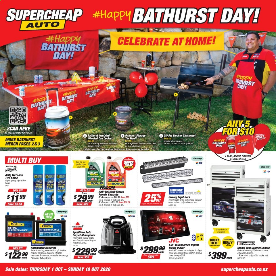 SuperCheap Auto mailer - 01.10.2020 - 18.10.2020 - Sales products - batteries, battery, cabinet, dates, smoker, stool, storage tin, table, player, carpet, cooler, flag, touchscreen, tools, jvc. Page 1.