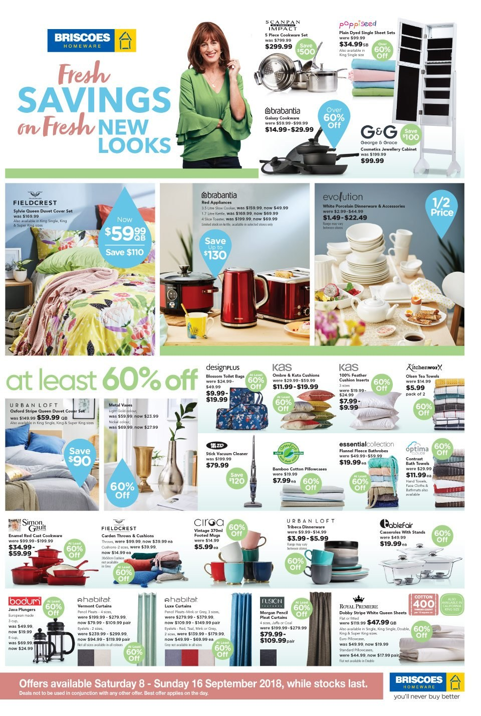 Briscoes mailer - 08.09.2018 - 16.09.2018 - Sales products - cushion, vase, cookware set, dinnerware set, tea towels, duvet, sheet, pillowcases, curtains, quilt cover set, towel, vacuum cleaner, kettle, cleaner, Samsung Galaxy, Blossom. Page 1.
