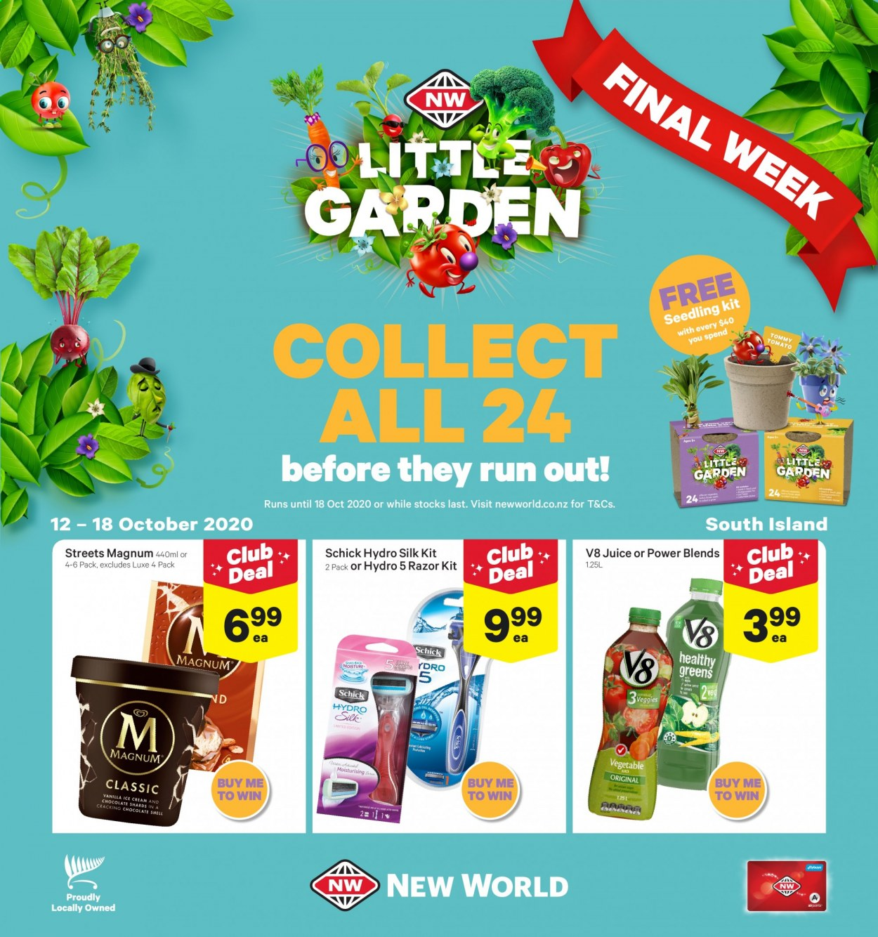 New World mailer - 12.10.2020 - 18.10.2020 - Sales products - magnum, moisture, razor, shell, schick, ice cream, juice, tomato, vegetable. Page 1.
