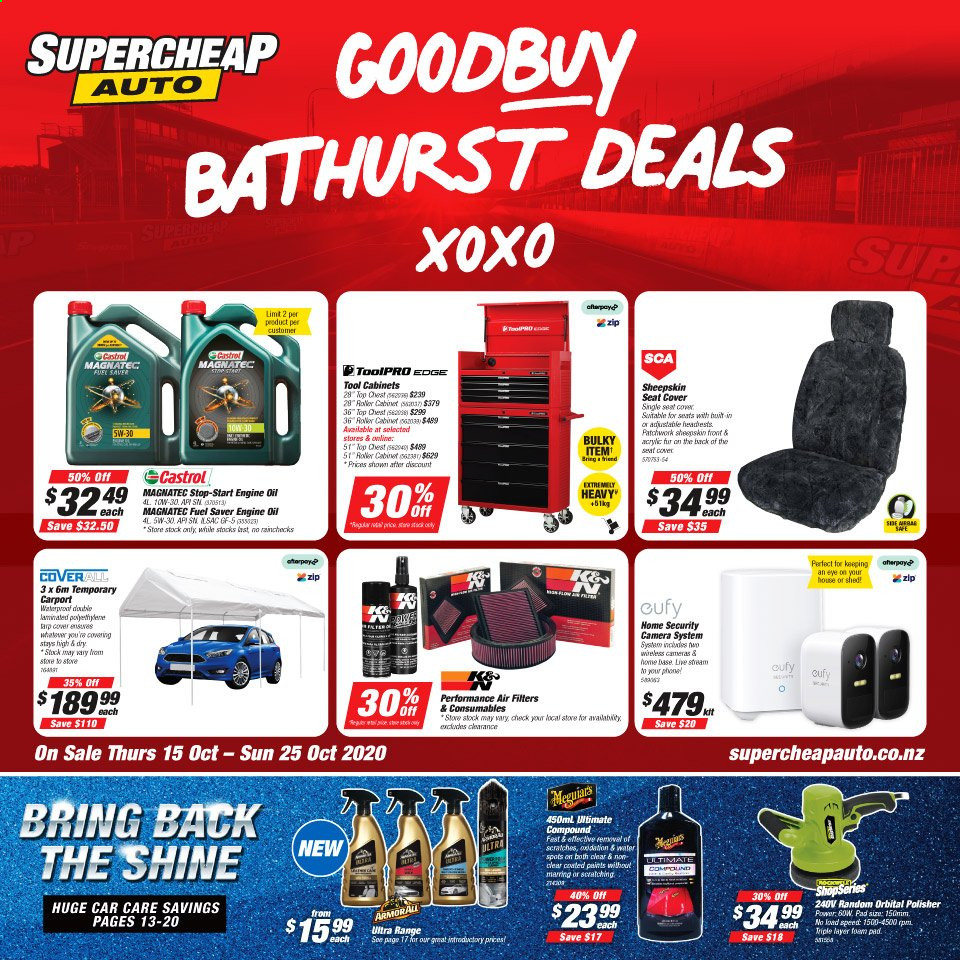 SuperCheap Auto mailer - 15.10.2020 - 25.10.2020 - Sales products - air filter, cabinet, camera, fuel, seat cover, security cam, water, pad, car, stove, roller, oil, security camera, phone, tools. Page 1.