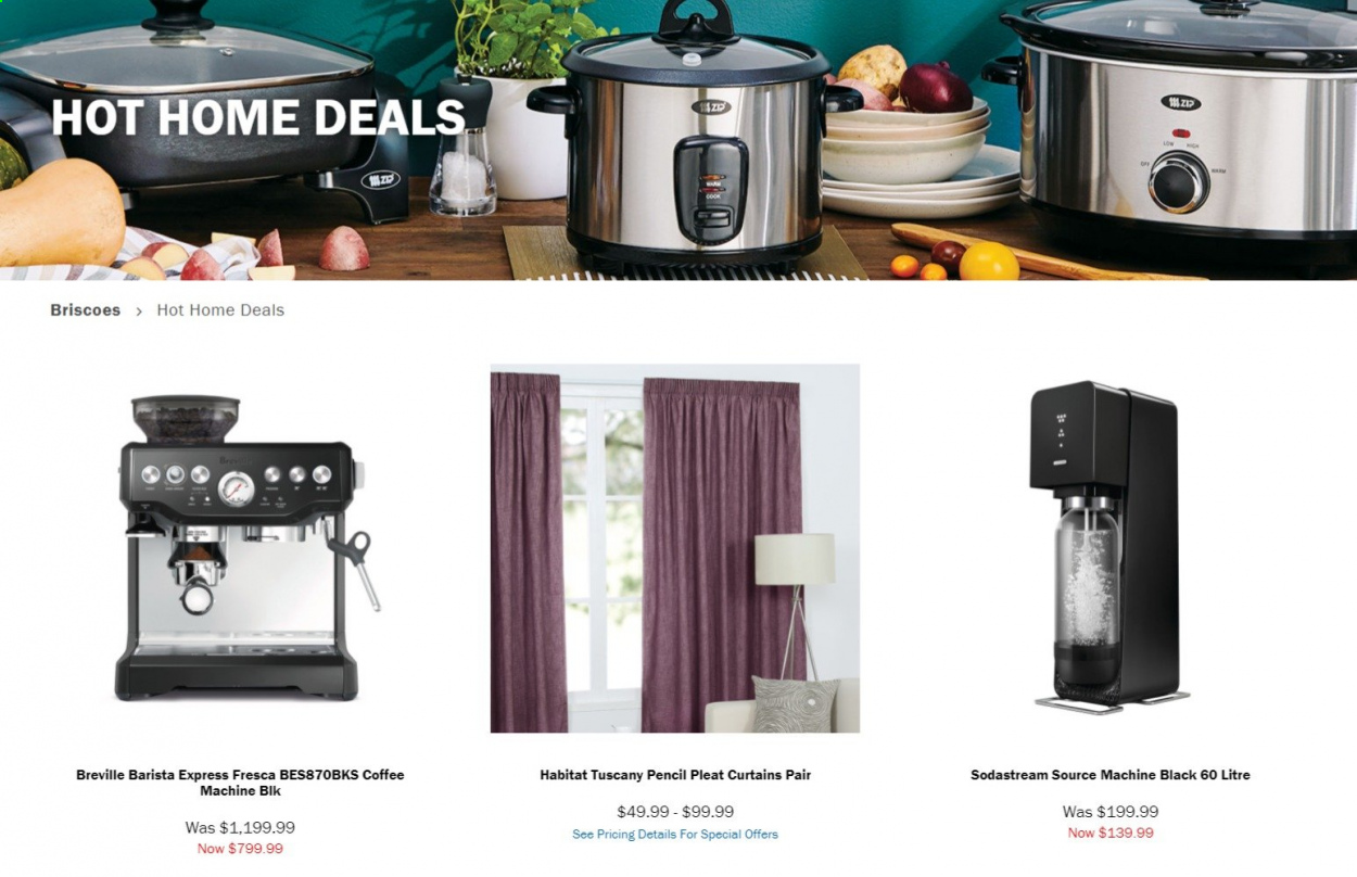 Briscoes mailer - Sales products - SodaStream, curtains, coffee machine, pencil. Page 1.